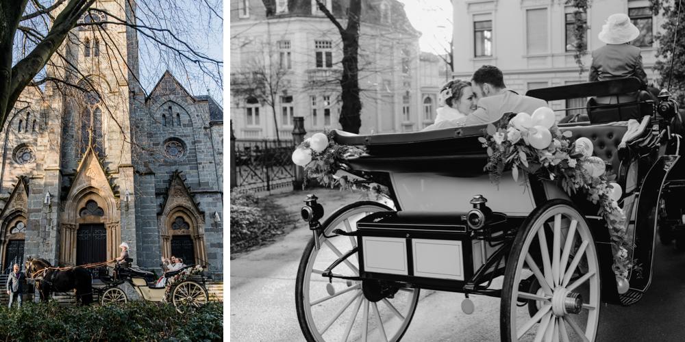 Mit der Hochzeitskutsche zur Trauung Kutschfahrten Höhrath Foto: Petra Fiedler Wuppertal